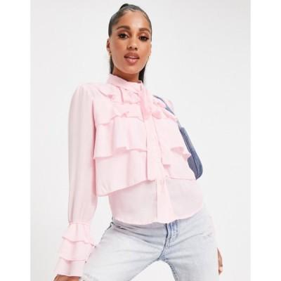 パリジャン Parisian レディース ブラウス・シャツ トップス Tie Neck Ruffle Detail Blouse In Pink ピンク