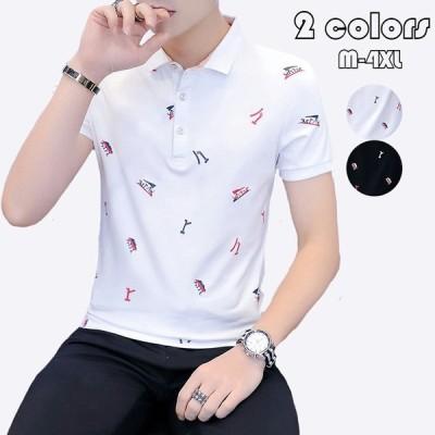 ポロシャツ メンズ プリント トップス 大きいサイズ 半袖 ファッション トレンド ゴルフウェア おしゃれ スポーツ 夏ゴルフ シャツ 紳士服 カジュアル 2色選べる