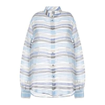 ELEVENTY ストライプ柄シャツ  レディースファッション  トップス  シャツ、ブラウス  長袖 スカイブルー