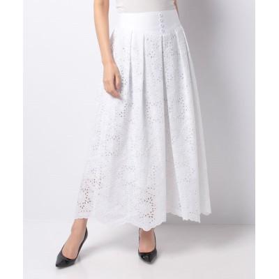 (allureville/アルアバイル)【LOULOU WILLOUGHBY】ローン刺繍ヨーク切替スカート《セットアップ対応商品》/レディース ホワイト