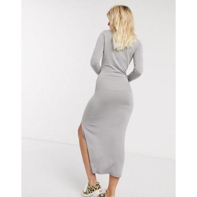 オアシス レディース ワンピース トップス Oasis knitted dress with split in gray Mid gray