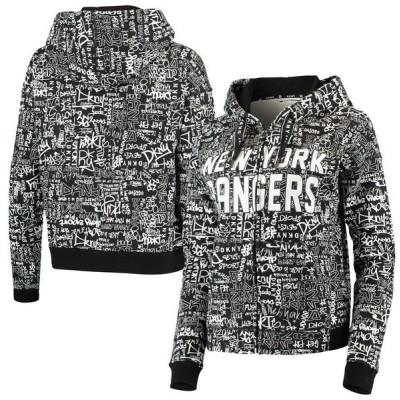 ダナ キャラン ニューヨーク レディース パーカー・スウェット アウター New York Rangers DKNY Sport Women's Black Urban Full-Zip Hoodie Jacket
