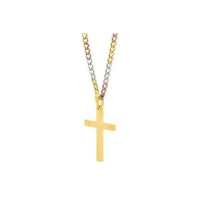 """チェーン ネックレス アメリカン ジュエリー ヒップホップ Mens Stainless Steel Gold Plated Cross Plain Pendant 24"""" 3T Cuban Necklace Chain"""