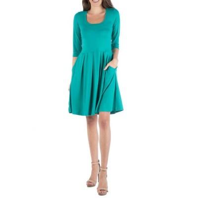 24セブンコンフォート レディース ワンピース トップス Women's Fit and Flare Mini Dress