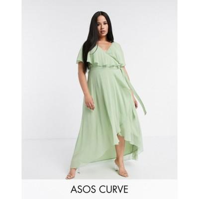 エイソス ドレス 大きいサイズ レディース ASOS DESIGN Curve cape back dipped hem maxi dress エイソス ASOS