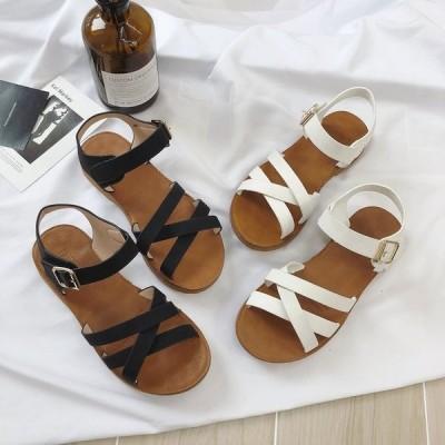 サンダル レディース 歩きやすい 痛くない ぺたんこ フラットソール ローヒール 春 夏 オープントゥ フラットサンダル ビーチサンダル レディースシューズ 靴