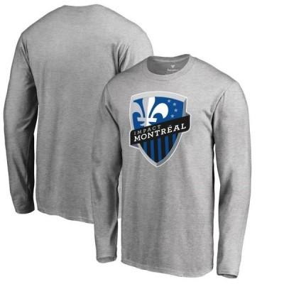 ユニセックス スポーツリーグ サッカー Montreal Impact Fanatics Branded Primary Logo Long Sleeve T-Shirt - Heathered Gray Tシャツ