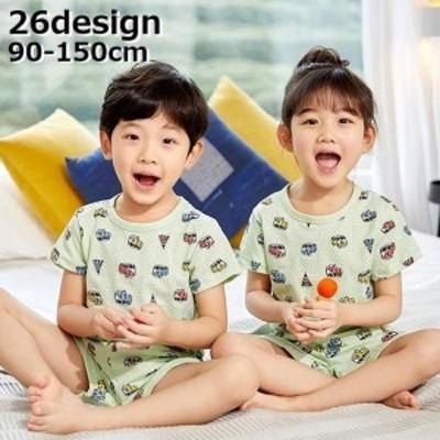パジャマ ルームウェア 上下セット 子供服 キッズ ジュニア 男の子 女の子 部屋着 半袖カットソー ショートパンツ メッシュ