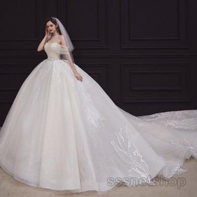 ウェディングドレス 大きいサイズ 花嫁ドレス オフショルダー プリンセスドレス トレーンライン 披露宴 演奏会 パーティードレス 2020新作【sssnetshop】