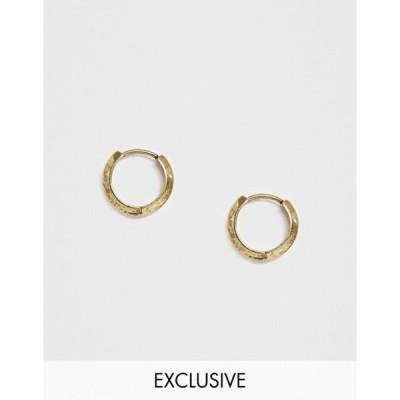 リクレイム ヴィンテージ メンズ ピアス・イヤリング アクセサリー Reclaimed Vintage Inspired hoops earrings in burnished gold tone exclusive at ASOS