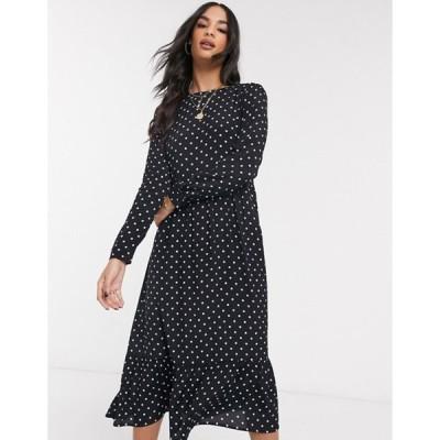 ウエアハウス レディース ワンピース トップス Warehouse polka dot tiered midi dress in black