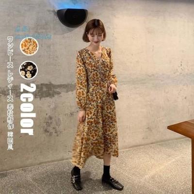 ワンピース ロングワンピース 40代 ワンピース 韓国風大人 通勤 レディース 大きいサイズ 花柄ワンピース 20代30代40代 春秋 マキシワンピース きれいめ