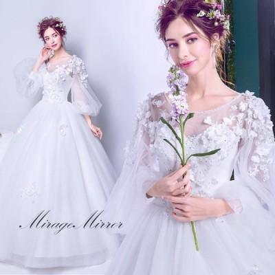 ウエディングドレス プリンセスライン バルーン袖 ラウンドネック 花飾り 長袖 ロングドレス フラワーブラ 結婚式 花嫁 新作