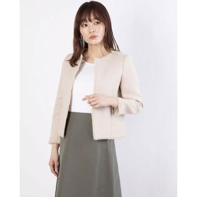 リネーム Rename 麻混フリンジデザインノーカラージャケット(ベージュ)