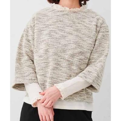 tシャツ Tシャツ IEDIT カットソーツイードのプルオーバーとフリルカットソーインナーの重ね着セット