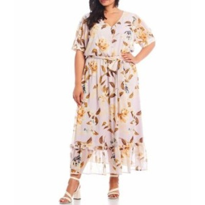 カルバンクライン レディース ワンピース トップス Plus Size Crinkle Short Sleeve Floral Printed Button Front Maxi Dress Orchid Mul