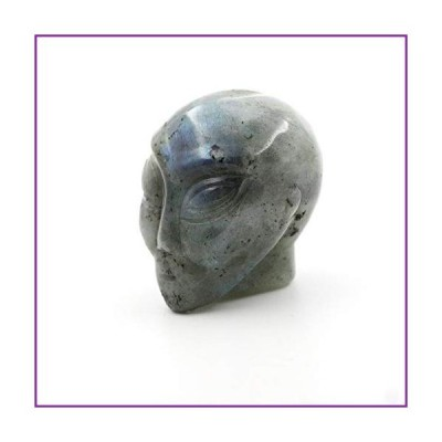 ジェムストーン 1.8インチ エイリアン スカル 手彫り ファインアート 彫刻 スカルストーン ポケット像