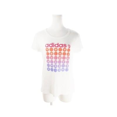 【中古】アディダスネオ adidas neo Tシャツ カットソー ラウンドネック 半袖 プリント ロゴ L 白 ホワイト /AO11 ☆ レディース 【ベクトル 古着】
