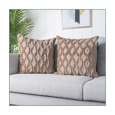 Madizz Pack of 2 Soft Plush Short Wool Velvet Decorative Throw Pillow Covers Luxury Style Cushion Case Pillow Shell for Sofa Bedroom Square Taupe 22x2