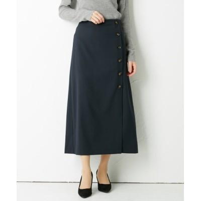 フェイクウールあったか見え素材♪ボタン使いAラインスカート (ひざ丈スカート)Skirts