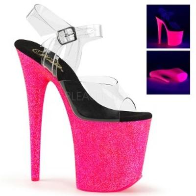 Pleaser FLAMINGO-808UVG 8inch Heel, 4inch PF Ankle Strap Sandal w/Neon UV Reactive BTM◆取り寄せ