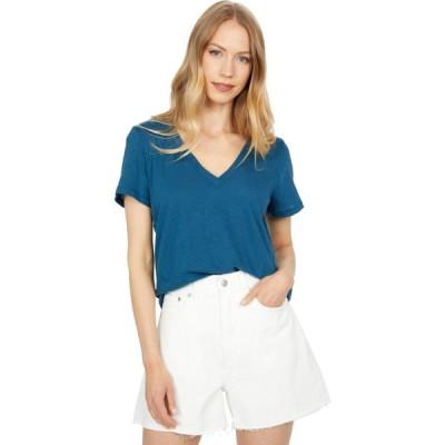 メイドウェル Madewell レディース Tシャツ Vネック トップス Whisper Cotton V-Neck Tee Blue Hematite