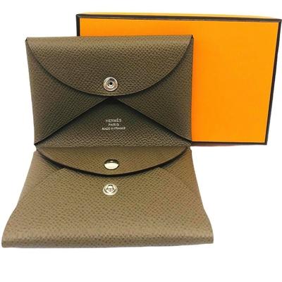 Hermes Calvi Duo 卡片夾/零錢包 (大象灰18) Epsom