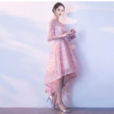 レース 刺繍 アシメ ワンピース ドレス ピンク 結婚式 お呼ばれ 20代 30代