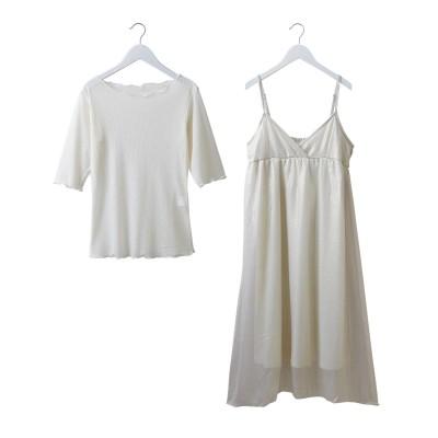 2点セット(ラメシアーキャミワンピース+Tシャツ) (ワンピース)Dress