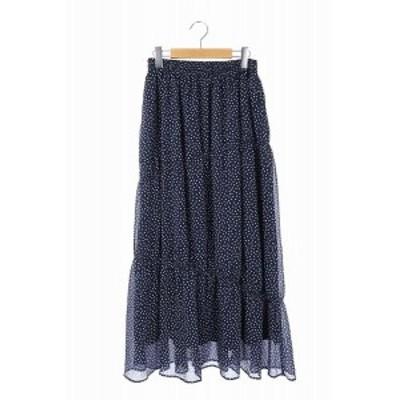 【中古】ノイズメーカー NOISE MAKER キャザースカート フレア マキシ丈 ロング ドット 水玉 F 紺 レディース