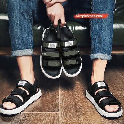 スポーツサンダル メンズ サンダル コンフォートサンダル 面ファスナー式 ストラップサンダル 軽量 メンズ ビーチサンダル 歩きやすい フラットサンダル 靴