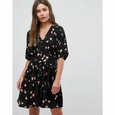 エイソス ワンピース ULTIMATE Casual Mini Tea Dress In Washed Dark Floral Print Multi