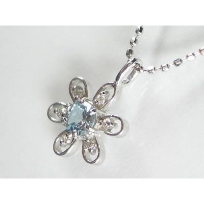 K18WGアクアマリン/ダイヤ ペンダント ネックレス