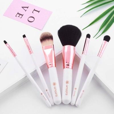 amoore 6本セット 化粧筆 メイクブラシ コスメ ブラシ 化粧ブラシ 収納ケース付き(6本, ホワイト)