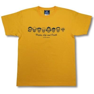 Tシャツ スカル・ファミリー ドクロ  イエロー サザエさん パロディ メンズ レディース