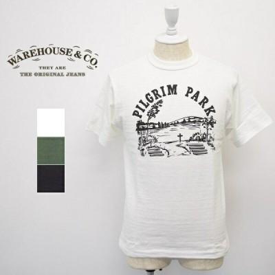 メンズ WAREHOUSE ウエアハウス  半袖 クルーネック フロント プリント Tシャツ PILGRIM PARK 4601
