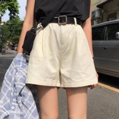 ショートパンツ シンプル 無地 大人カジュアル ベージュ ブラック ホワイト レディース ファッション 韓国 オルチャン