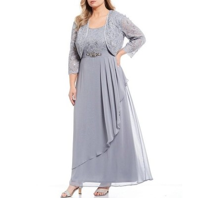ジェシカハワード レディース ワンピース トップス Plus Size Lace Jacket Chiffon Ruffle Long Gown