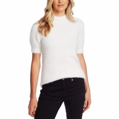 シーシー CeCe レディース ニット・セーター トップス Short Sleeve Mock Neck Eyelash Sweater Antique White