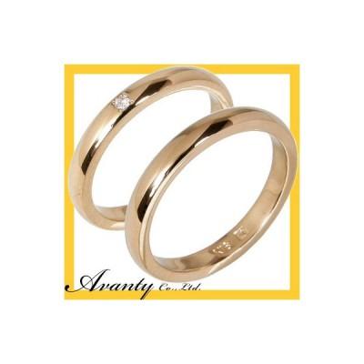 結婚指輪 安い マリッジリング ペアリング ペアセット 人気甲丸 (K18ピンクゴールド)(K18PG)1粒ダイヤモンド 2本セット