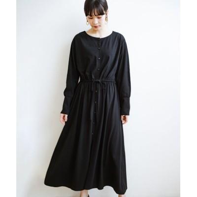 【ハコ】 デニムやスカートを重ねて簡単にこなれて見える 羽織れるドロストワンピース レディース ブラック S haco!