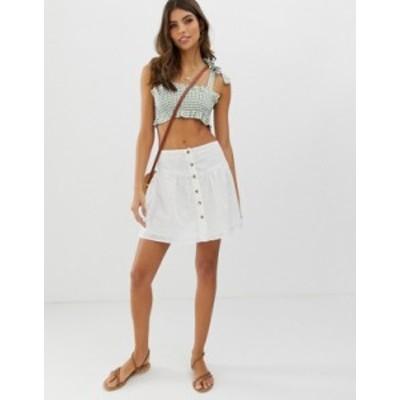 エイソス レディース スカート ボトムス ASOS DESIGN broderie mini skirt with button front White