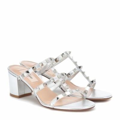 ヴァレンティノ Valentino レディース サンダル・ミュール シューズ・靴 Garavani Rockstud Spike leather sandals silver
