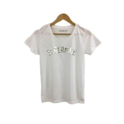 【中古】アルアバイル allureville GOOD ROCK SPEED Tシャツ カットソー Uネック プリント 半袖 F 白 銀 ホワイト シルバー レディース 【ベクトル 古着】