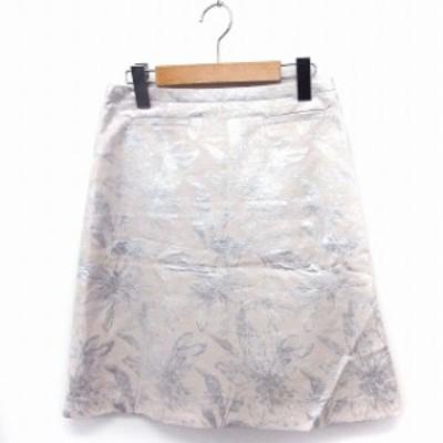 【中古】ユナイテッドアローズ UNITED ARROWS スカート 総柄 台形 ひざ丈 光沢 38 ベージュ /FT17 レディース