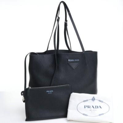 中古良品プラダ PRADA トートバッグ 1BG205 レザー 黒 ブラック ユニセックス メンズ レディース ポーチ付  ランク:ABus-2 ブランドバッグ