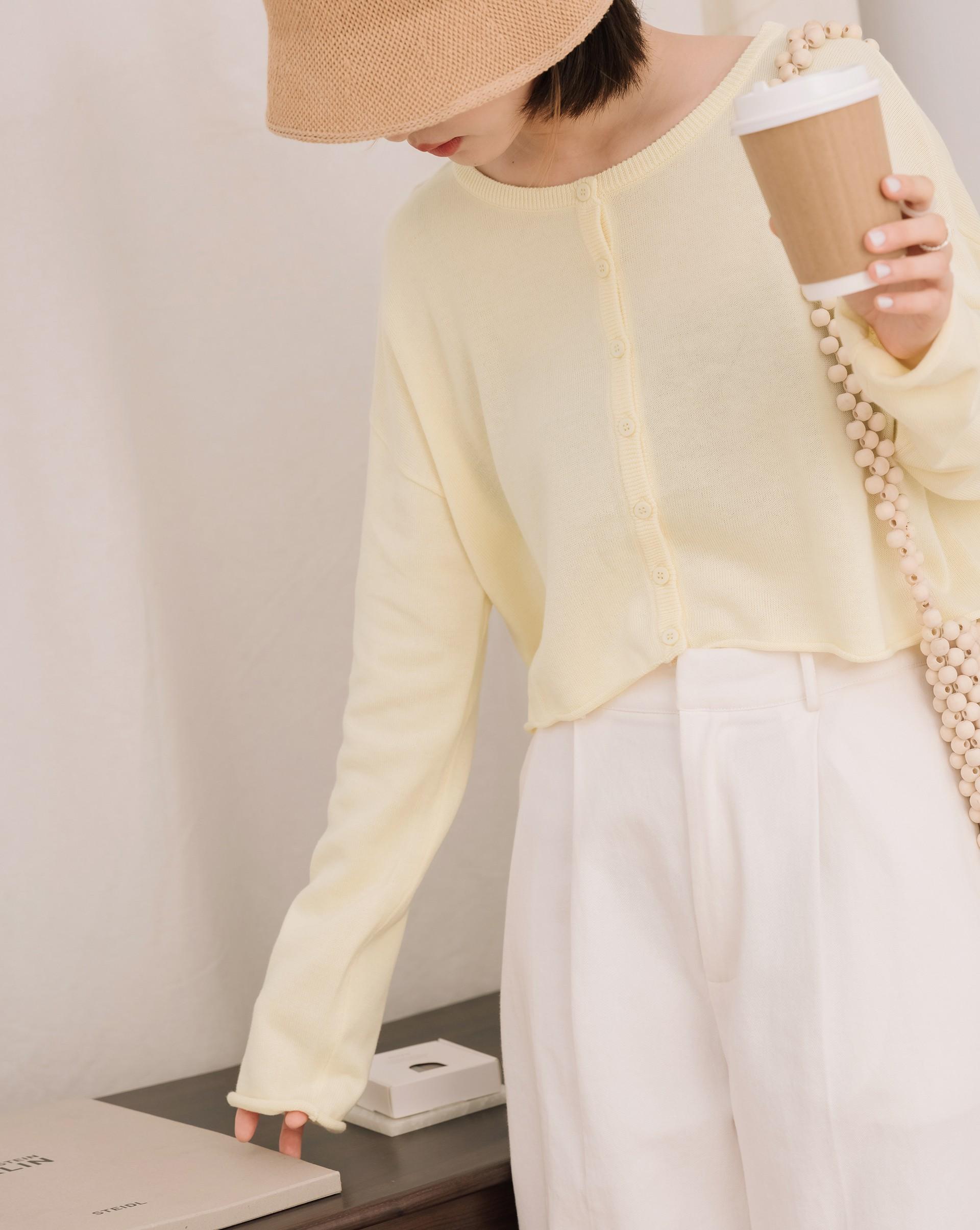 舒適日常捲邊造型針織外套-Meierq
