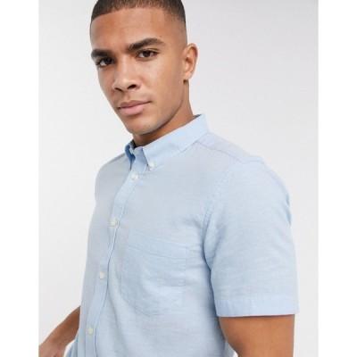 フレンチコネクション メンズ シャツ トップス French Connection linen shirt with short sleeve Soft blue