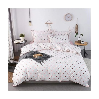 Love Heart Girls Duvet Cover Sets Twin Size Red Polka Dots Pattern White Bedding Sets Cute Design for Baby Toddlers Children Kids【並行