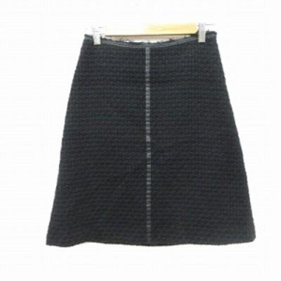【中古】ユナイテッドアローズ ニットスカート 台形 ひざ丈 パイピング フェイクレザー ウール 36 黒 ブラック